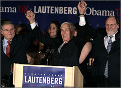 Democratic Sen. Frank Lautenberg celebrates his win over Republican challenger Dick Zimmer with fellow Sen. Robert Menendez, D-N.J., left, and New Jersey Gov. Jon S. Corzine in New Brunswick, N.J. The 84-year-old Lautenberg will be the first five-term senator from the Garden State.