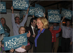 Democrat Chellie Pingree greets supporters at the end of election day after polls showed she had won a seat in congress.