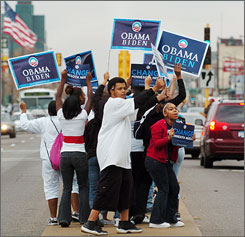 Students from the Skills for Tomorrow charter school show their support for Democratic presidential candidate Barack Obama on a median in St. Paul. Obama became the ninth consecutive Democratic winner in Minnesota en route to being elected the 44th President of the United States.