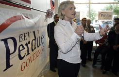 Democrat Bev Perdue speaks at a campaign stop in September in Charlotte On Tuesday, she became the first woman to be elected governor of North Carolina.
