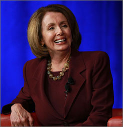 Democrats appeared poised to take over 15 GOP House seats on Election Day. Here, House Speaker Nancy Pelosi, D-Calif., is seen on Oct. 27 at Google headquarters in Mountain View, Calif., during a speaker series.