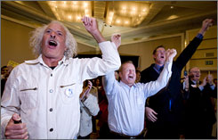 From left, Bob Knoke, Jim Domer and J.D. Gaddis cheer the passage of a ban on same-sex marriage in California.