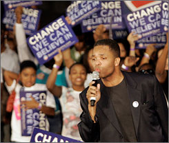 Jesse Jackson Jr., D-Ill., speaking at a campaign rally last week for Barack Obama, is considered a possibility to take Obama's vacant senate seat.
