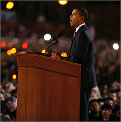 President-elect Barack Obama delivers his acceptance speech in Chicago's Grant Park fter being declared the winner in the general election.