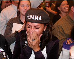 Tears stream down the face of Joni Goheen, 51, as she hears that Demcorat Barack Obama was declared the winner in the race for the White House at the Colorado Democratic Party Election Night celebration in Denver.