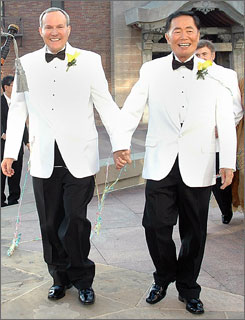 Actor George Takei, right, and longtime partner Brad Altman, left, leave their wedding at the Japanese American National Museum in Los Angeles.