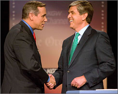 Democrat Jeff Merkley, left, challenger in the U.S. Senate race in Oregon, has beat Republican Sen. Gordon Smith. Here, the two are seen after a debate in Portland, Ore., on Oct. 9.