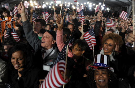Supporters cheer as Democratic Presidential candidate Barack Obama is announced winner during election night in Chicago's Grant Park.