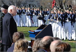 Vice president Dick Cheney reviews the Virginia Military Corps cadets as part of Military Appreciation Day at the college before Cheney addressed the corps in Lexington, Va., Saturday.