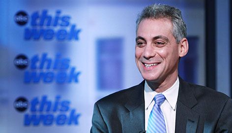 Rahm Emanuel, chief of staff for the Barack Obama administration, talks with George Stephanopoulos on This Week with George Stephanopoulos on Oct. 26 in Washington, D.C. Emanuel also appeared on the show on Sunday.