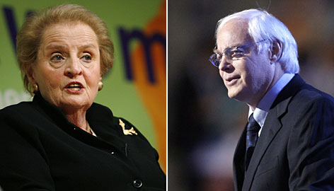 Former U.S. Secretary of State Madeleine Albright, left, and former Republican Rep. Jim Leach, R-Iowa, will represent President-elect Barack Obama at the economic summit hosted by President Bush.