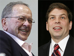 Mark Begich, right, hopes to be the first Democrat to win an Alaskan senate race since the mid-1970s with his challenge of GOP Sen. Ted Stevens, currently embroiled in a corruption scandal.