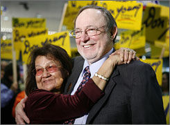 Alaska Republican Rep. Don Young stands with his wife Lu at election central in Anchorage, Alaska on Nov. 4.  Alaska voters have returned Republican incumbent Don Young to the U.S. House for his 19th term.
