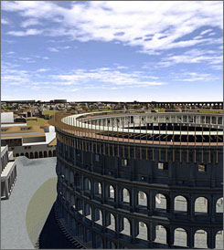 Google Earth added to its software a 3D simulation that painstakingly reconstructs nearly 7000 buildings of ancient Rome, including the Colosseum, pictured, the Forum and the Circus Maximus, officials said Wednesday.