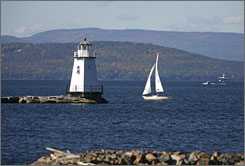 Boats travel across the waters of Lake Champlain in Burlington, Vt., which the CDC has named America's healthiest city.