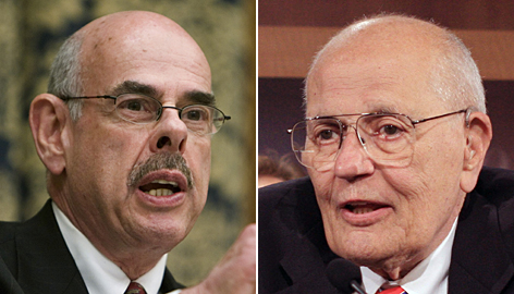 Democratic Reps. Henry Waxman of California, left, and John Dingell of Michigan worked together to help craft changes to the Clean Air Act in 1990, but the two legislative lions have been rivals for decades, scrapping over environmental and health policies.