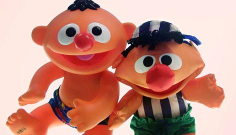 Some plastic toys, like the Ernie by Mattel Inc. at left, contain phthalates, a hormone-like chemical. The Ernie doll made of cloth, right, by Fisher Price is phthalate free.
