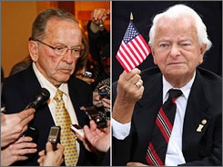Sen. Ted Stevens, R-Alaska, left, seen here talking with reporters in Washington on Tuesday, is leaving his longtime post after a reelection defeat. Sen. Robert Byrd, D-W.Va., seen here waving a flag during a ceremony in Washington on Sept. 11, is stepping down as chairman of the Senate Appropriations Committee.