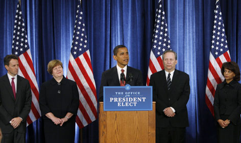 President-elect Barack Obama, center, introduces his economic team, from left, Timothy Geithner as Treasury secretary; Christina Romer as Council of Economic Advisers chair; Lawrence Summers as National Economic Council head; and Melody Barnes as Domestic Policy Council director.