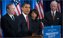 Barack Obama announces Lawrence Summers for National Economic Council director, and Melody Barnes for Domestic Policy Council director. Vice President-elect Joe Biden stands at right.