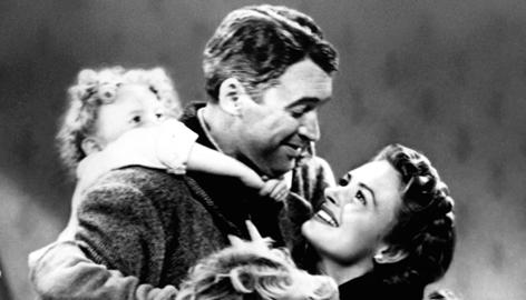 "Jimmy Stewart as George Bailey and Donna Reed as Mary in a scene from 'It's a Wonderful Life.' One way to work on being grateful is to list things in your life that you take for granted and think about what your life would be like without them (what researcher Robert Emmons calls ""the George Bailey effect."""