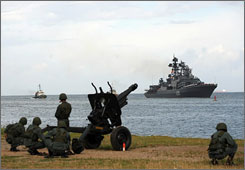 A Russian naval squadron led by Northern Fleet's flagship Pyotr Veliky (Peter the Great) nuclear-powered missile cruiser, arrived in Venezuela to conduct a joint exercise with the Venezuelan Navy.