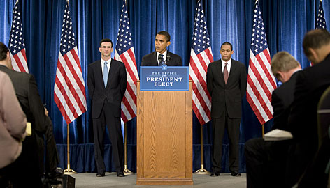 President-elect Barack Obama introduces Peter Orszag, left, and Rob Nabors, right, on Tuesday as his candidates to lead the White House Office of Management and Budget.