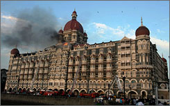 The Taj Mahal hotel in Mumbai, India, was one of the places targeted in the terror attacks on Wednesday.