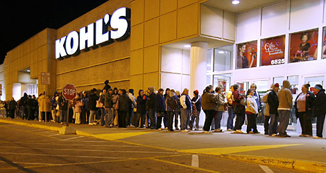 Customers line up outside the Kohl's in Middletown, Ohio, to start their Black Friday shopping when the store opens at 4 a.m.