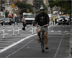 More and more companies are offering financial incentives for employees to ride bikes to work. In New York City, commuter cycling increased by 35% between 2007 and 2008, according to a 2008 report by the city's Department of Transportation.