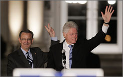 Democratic Senatorial candidate Jim Martin, left, and former President Bill Clinton rally voters at Clark Atlanta University in Atlanta on Nov. 19. Martin is in a runoff with incumbent Sen. Saxby Chambliss, R-Ga.