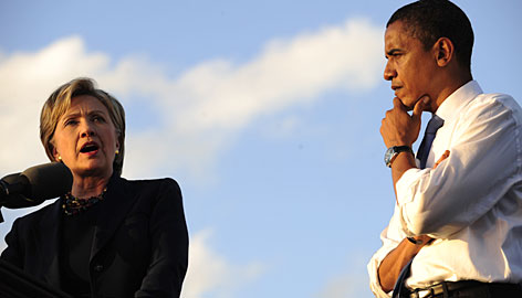 Hillary Clinton and Barack Obama appear together during a rally at Amway Arena in Orlando on Oct. 20. Associates say the two have mended fences.