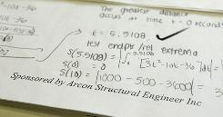 A small ad for Arcon Structural Engineer Inc. on the bottom of the first page of a test paper in math teacher Tom Farber's Advanced Placement calculus class at Rancho Bernardo High School in San Diego.