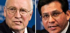 Indictments against Vice President Dick Cheney (L) and former Attorney General Alberto Gonzales were dismissed Monday as a judge told the south Texas prosecutor who brought the case to exercise caution as his term in office ends.