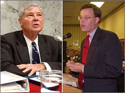 A report from a panel led by former Sens. Bob Graham of Florida, left, and Jim Talent of Missouri right, indicates that a nuclear or biological attack by terrorists in the United States is likely by 2013.