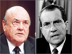 Newly released documents show the White House under Richard Nixon, right, struggled to content with the Vietnam War. One of the documents is a memo that includes statements by former Defense Secretary Melvin Laird, left.