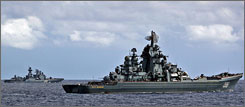 Russian warships participate joint maneuvers in Venezuelan waters on Tuesday.