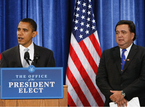 President-elect Barack Obama has nominated New Mexico Gov. Bill Richardson, right, to be his Commerce secretary. Here, the two are seen together during the announcement at a news conference in Chicago on Wednesday.