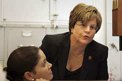 Rep. Ileana Ros-Lehtinen, R-Fla., is seen in her office in Washington. The congresswoman on Wednesday said she and President-elect Barack Obama had a good conversation.