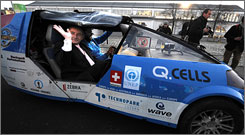 The solar car, which runs noiselessly, can travel up to 55 mph and covers 185 miles on a fully charged battery.