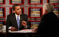 President-elect Barack Obama told Meet the Press host Tom Brokaw that the economic crisis trumps concerns about the federal deficit.