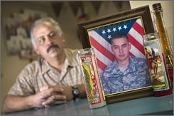 Roger Suarez' son, Pfc. Roger Suarez-Gonzalez, died in Iraq on Dec., 4, 2006 in an incident that was originally recorded as an insurgent mortor attack. Since then, video has surfaced from the helmet camera of one of the soldiers that appears to indicate that Suarez died of friendly fire.