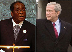 President Bush calls on Zimbabwean President Robert Mugabe, left, to step down.