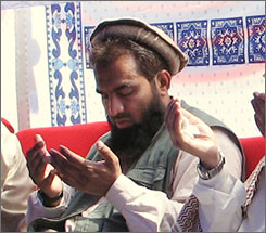 An alleged plotter of the Mumbai attacks, Zaki-ur-Rehman Lakhvi, prays on June 28 in Mezaffarabad, Pakistan.
