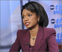 Secretary of State Condoleezza Rice, seen here during a television interview in Washington on Sunday, is in Panama for hemisphere trade talks.