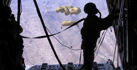 An Air Force loadmaster secures the ramp of a C-130 after an airdrop of critical supplies for Afghanistan ground forces in March 2007.