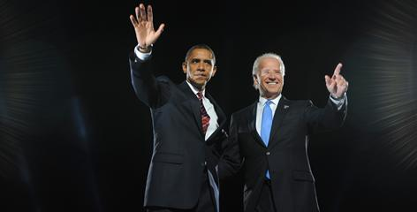 Barack Obama and Joe Biden celebrate their victory on Nov. 4 in Chicago. Obama signaled his intent to make congressional relations a priority in picking Biden as a running mate.