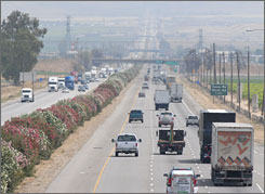 View of afternoon traffic heading south on Highway 99 near Bakersfield, Calif. Transportation will play a central role in Obama's first months in office.