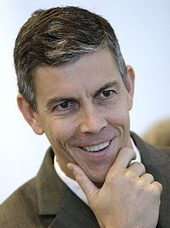 Chicago Public Schools chief Arne Duncan, shown during a news conference in Chicago on Nov. 13, is considered a potential choice for education secretary in President-elect Barack Obama's Cabinet.