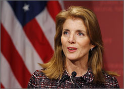 Caroline Kennedy, seen here speaking at Harvard University in Cambridge, Mass., last month, reportedly will seak the U.S. Senate seat to be vacated by Secretary of State-designate Hillary Rodham Clinton.